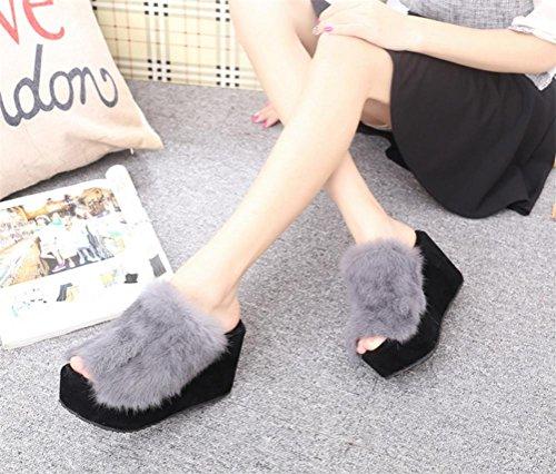 Da donna casual peluche pantofole interno per mantenere caldo in autunno e inverno pantofole, grigio, 35
