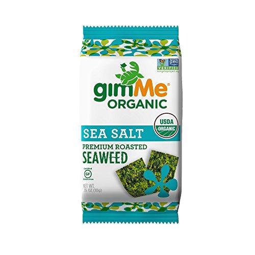 gimMe Snacks Organic Premium Roasted Seaweed, Sea Salt, 0.35 Ounce (10 g) -  (Pack of 12) - Sea Salt Seaweed
