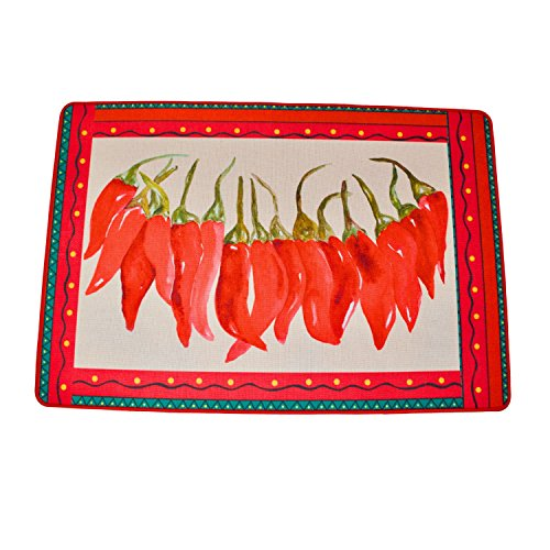 (BZ26 Farm House Red Hot Chili Peppers Accent Rug Fiesta String Chili Peppers 23 inches x 15.75 inches)