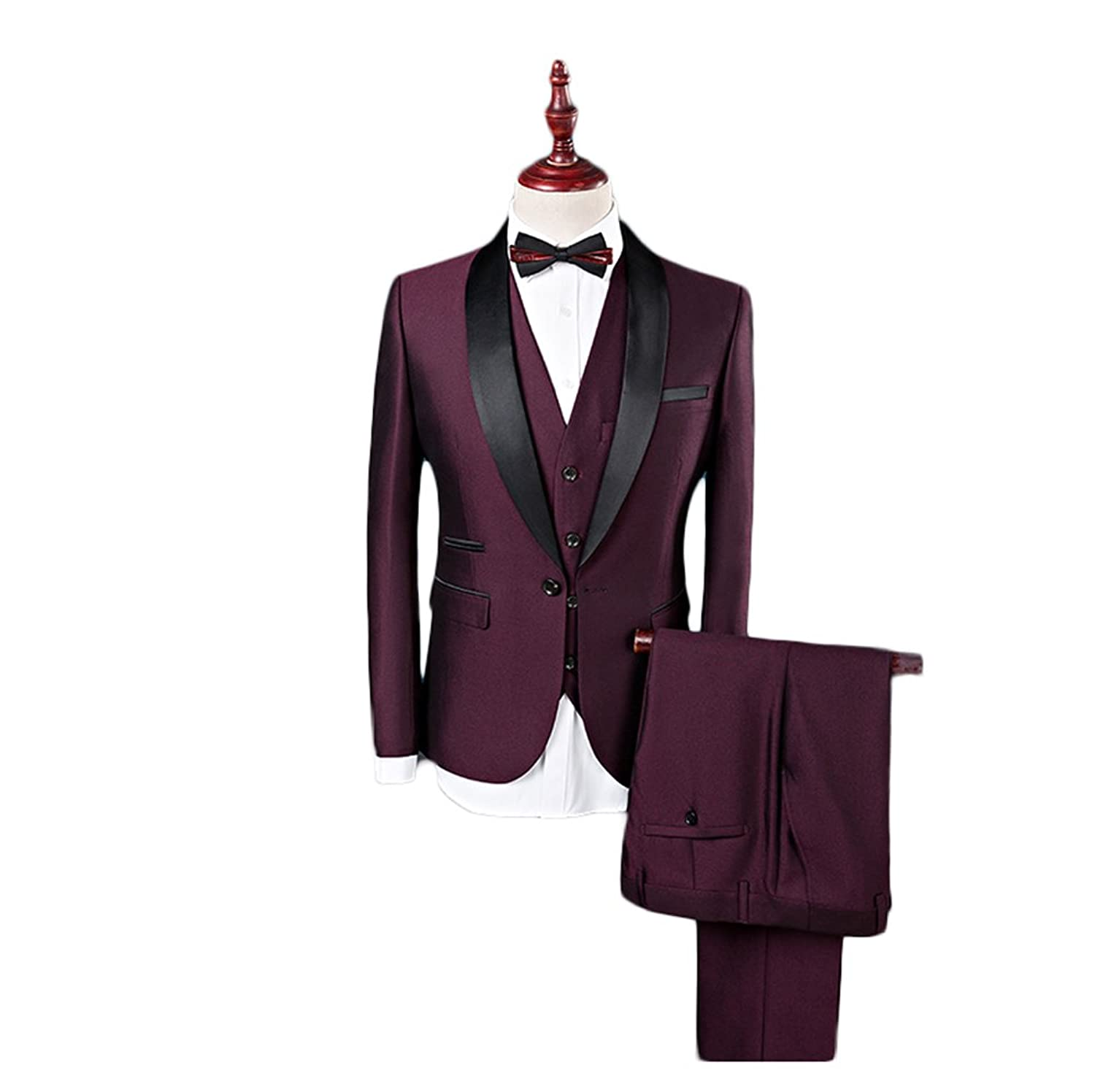 Botong Burgundy Shawl Lapel Men Suits 3 Pieces Wedding Suits For Men Groom Tuxedos