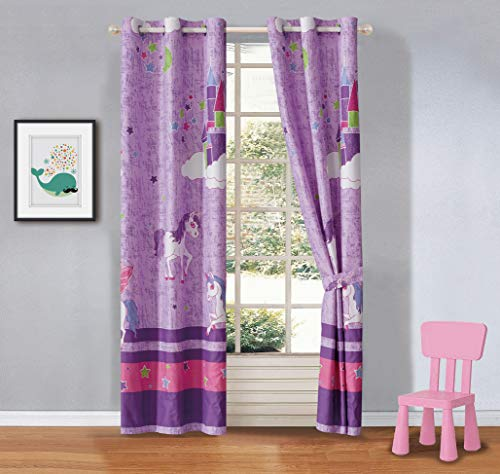 Better Home Style Purple Unicorn Rainbow Stars Printed Fun Multicolors Pink Girls/Kids Room Window Curtain Treatment Drapes 2 Piece Set with Grommets # Unicorn Castle Lavender (Matching Curtain) (Curtains Window Style)