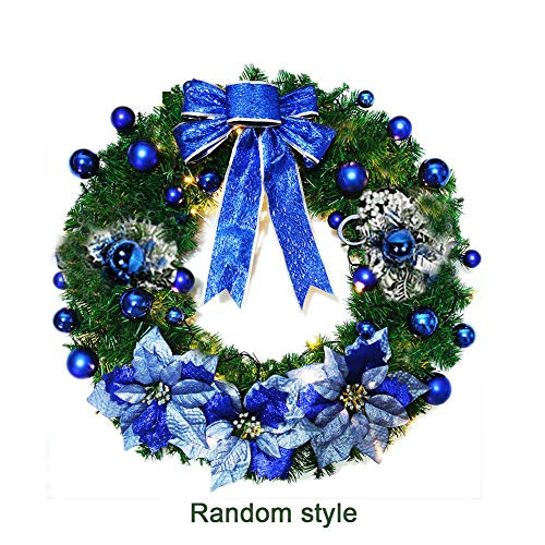 Handfly Christmas Wreaths 30cm Indoor Outdoor Artificial Xmas Baubles Garland for Tree Door Hanging,Wreaths with Baubles,Bowtie,Flower,Pine Cone Decor (Christmas Bauble Wreath Silver)
