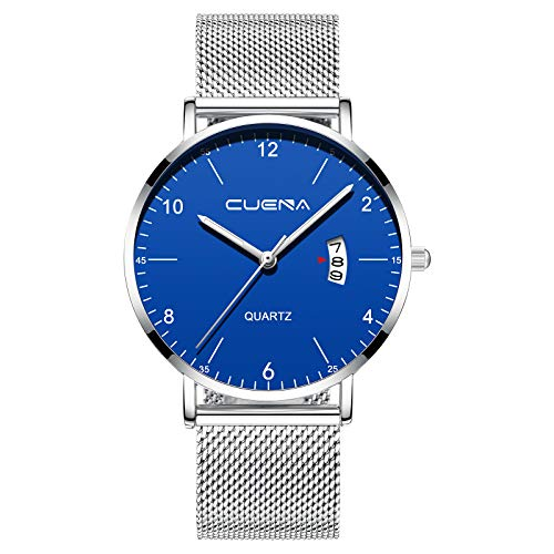 CRRJU Men Fashion Full Steel Watches Casual Business Blue Dial Wristwatches with Mesh Strap