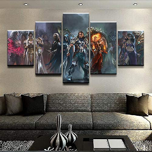 HENANFSLY Home Decor Hd Prints Pictures 5 Pieces Magic Gathering Poster Game Wall Artwork Modular Painting Canvas for Living Room Framed