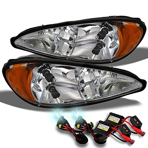 For Pontiac Grand AM Chrome Clear Headlights Front Lamps Replacement + Slim Ballast 8k White Blue (Grand Am Headlight Lamp)