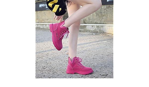 Shukun Botines Martin Botas Botines de Mujer otoño Plano Tubo Corto Salvaje Solo Botas: Amazon.es: Deportes y aire libre