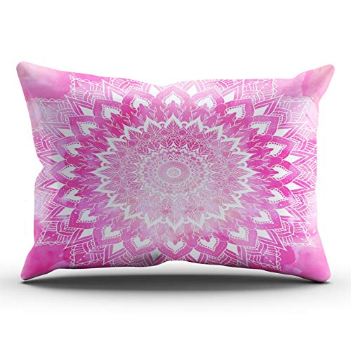 KAQIU Home Furnishing Pillowcase White Boho Chic Floral Mandala on Neon Pink Watercolor Outdoor King Size 20x36 InchHidden Zipper Chic & Personality Rectangular Double-Sided Printed Design ()