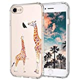 iPhone 7 Case, iPhone 8 Case, MOSNOVO Cute Giraffe Pattern Clear Design Printed Transparent Plastic Case with TPU Bumper Protective Case Cover for Apple iPhone 7 (2016) / iPhone 8 (2017)