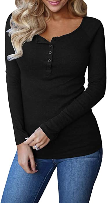 93f21d66 Remikstyt Henley Shirts for Women Long Sleeve Button Neck Casual Ribbed  Slim Fit Side Split Tops