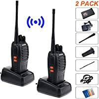 Baofeng bf-888s Handheld Walkie Talkies Rechargeable Batteries Two Way Radios Long Range 5W 16 Channels with Earpiece for Indoor Outdoor Travel Camping Hunting Hiking Survival All Weather Use(2 Pack)