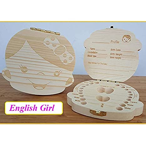 Jamie® English Wooden Box Tooth Box Organizer Save Milk Teeth Box Storage Teeth Gift Umbilical