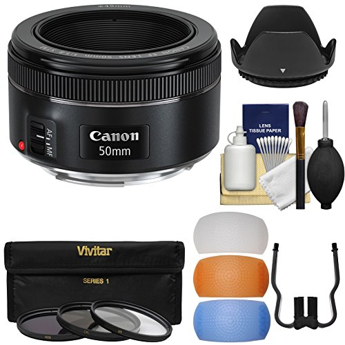 Canon EF 50mm f/1.8 STM Lens + 3 Filters + Hood + Diffusers