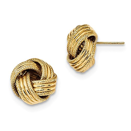 14K Yellow Gold Polished Textured Love Knot Post Earrings