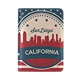 Vintage American Flag California State San Diego Skyline Leather Passport Cover - Holder - for Men & Women - Passport Case