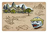 Lunarable Travel Pet Mat for Food and Water, Hand Drawn Collection of Cambodia Angkor Wat and Animals Illustration, Rectangle Non-Slip Rubber Mat for Dogs and Cats, Warm Taupe and Green