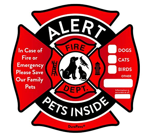 (Pet Alert Stickers - Save My Pets in Case of Emergency Stickers - Inside The Window Static Cling Window Decals 4 Pack - UV Resistant Removable, NO Adhesive - Bonus: Pet Alert Wallet Card )