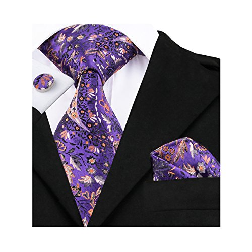 Plaid Silk Necktie (Hi-Tie Purple Floral Paisley Plaid Woven Silk Tie Necktie Handkerchief Cufflinks Set for men)