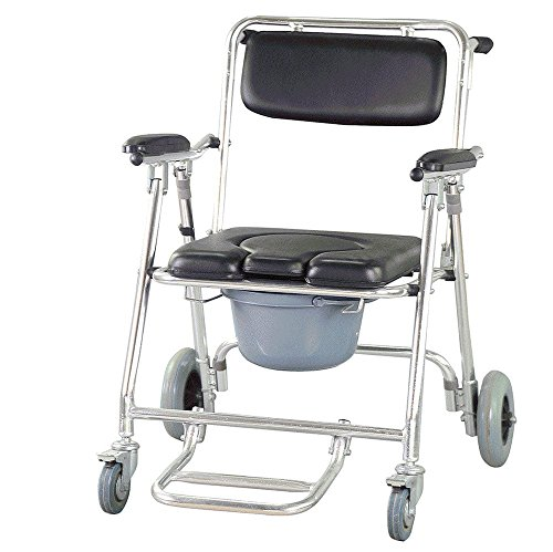 Finlon Mobile Commode Chair Wheelchair Toilet with 4 brakes, Wheels, Padded Toilet Seat, Drop Arm Transport Chair,& Footrests Wheelchair Toilet by Finlon
