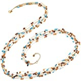 Silk Thread and Cultured Freshwater Pearl Seven (7) Strand Long Necklace, 36 inches
