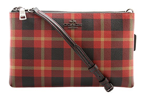 Coated Canvas Gold Leather (Coach Lyla Crossbody in Riley Plaid Coated Canvas, F54863 (True Red Multi))