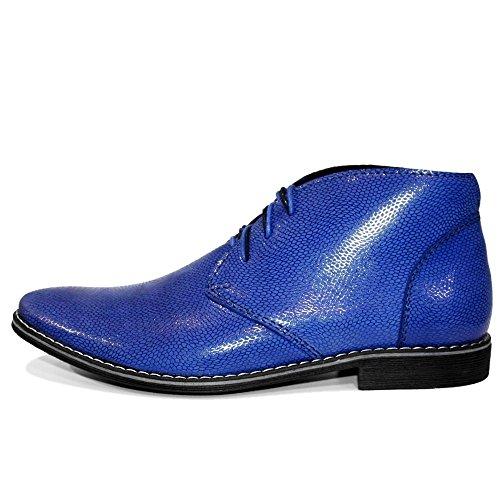 PeppeShoes Modello Chukkero - Handmade Italiano da Uomo in Pelle Blu Chukka Boots - Vacchetta Pelle in Rilievo - Allacciare