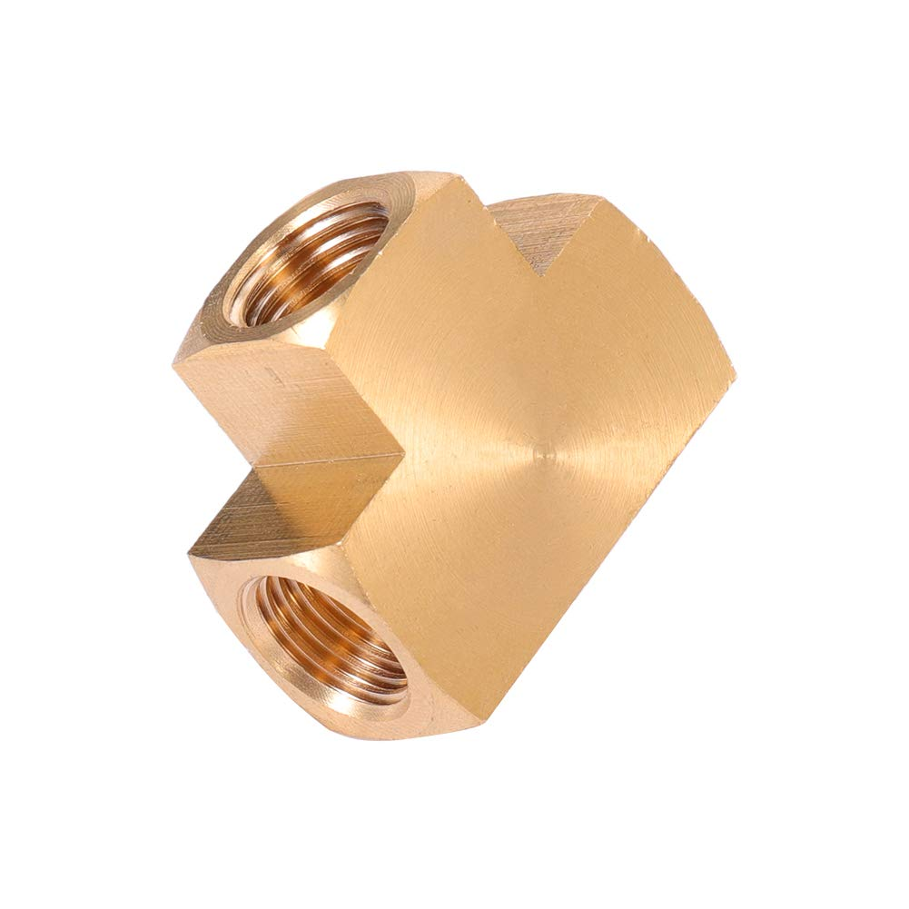 Barstock Tee 3, 1//4 NPT Female x 1//4 NPT Female x 1//4 NPT Female Brass Pipe Fitting 1//4 x 1//4 x 1//4 Three NPT Female Pipe