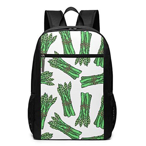 Ibo Pattern - Vegetarian Food Asparagus Pattern 17 Inch Laptop Computer Backpack Travel Backpack Multi-Purpose Adjustable Backpack