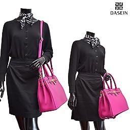Dasein Women\'s New Padlock Top Handle Satchel Shoulder Bag Handbag Designer Purse- Double Zipper