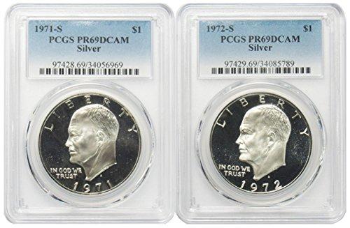 (1971 & 1972 S Silver Eisenhower Ike Dollar $1 PR69DCAM PCGS 2 Coin Set )