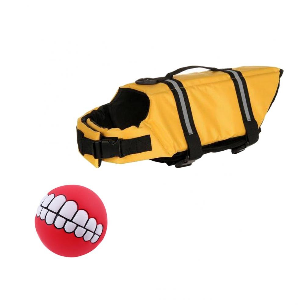 Dovewill Reflective Dog Swimming Suit Lifejacket Float Saver XS + Pet Fun Teeth Ball Toy - Yellow