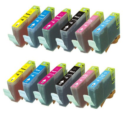 12 Pack (2 of each color) CLI-8 Compatible Ink w/ Chip for Canon Pixma iP6600D iP6700D