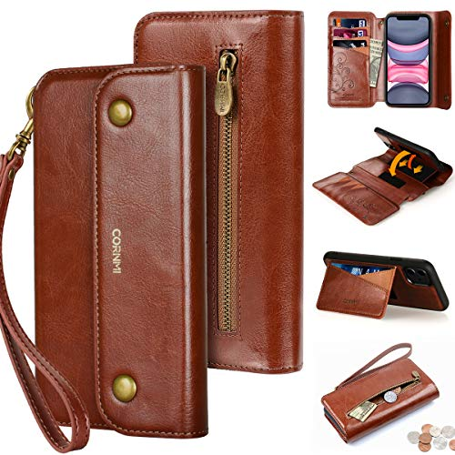 CORNMI iPhone 11 Wallet Case, Zipper Pocket 8 Card Holders Kickstand Wrist Strap Leather Folio Leather Flip Cover Detachable Protective Purse for Apple 11 6.1 inch 2019 Released Brown