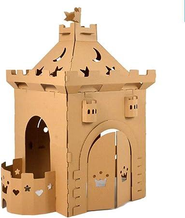 Cartón Playhouse para niños Bricolaje para colorear Jugando un uego Plegable Casas de juegos infantiles para jardín Pintura Juguetes de interior Castillo de papel Regalos de cumpleaños de navidad: Amazon.es: Hogar