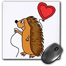 3dRose All Smiles Art Love - Funny Cool Hedgehog with Love Balloon Cartoon - MousePad (mp_265133_1)