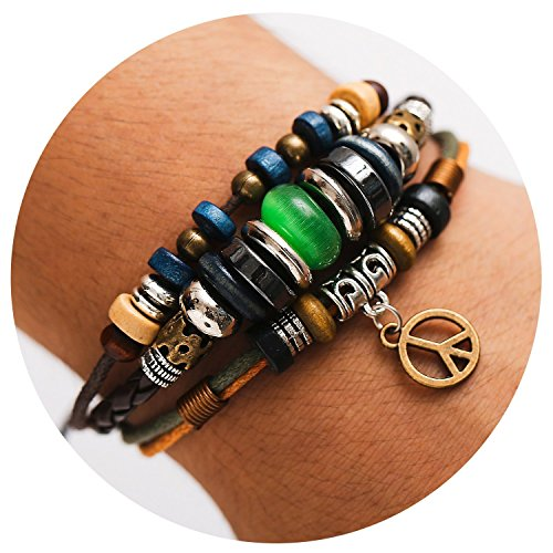 - 77Fine Leather Wrap Boho Bracelet Wood Bead Adjustable Handmade Bracelet for Man Woman