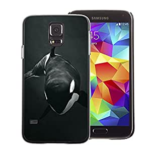 A-type Arte & diseño plástico duro Fundas Cover Cubre Hard Case Cover para Samsung Galaxy S5 (Orca Whale Willy Black White Minimalist)
