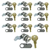 Leisure Coachworks 10 Pack 7/8' Keyed Camlock with Straight and Offset Cam Lock Latch Keyed Alike (10, 7/8')