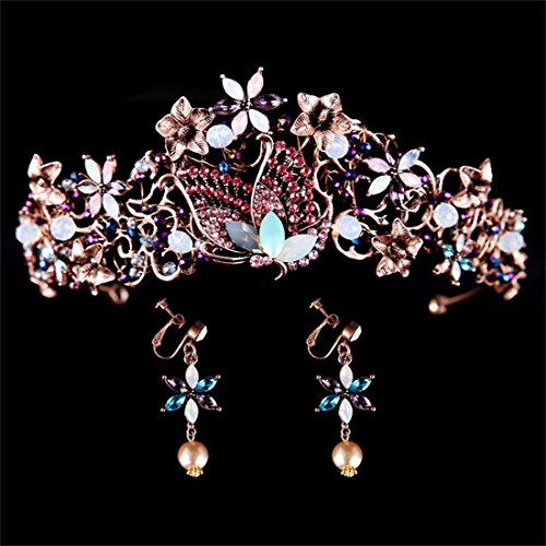 FUMUD Handmade Luxury Black Baroque Style Bridal Purple Crystal Crown Tiara Headpieces Birthday party Hair Accessories (New ()