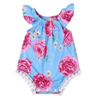 Newborn Baby Girl Clothes Floral Romper Sleeveless Infant Jumpsuit Outfit (0-...