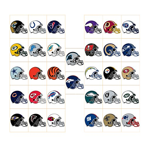 50 NFL Football Stickers Logo Helmet Sticker Set (All 32 Teams plus 18) Saints Steelers Texans 49ers Bears Broncos Chiefs Cowboys Dolphins Eagles Giants Lions Packers Panthers Patriots Raiders