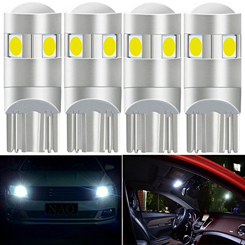 White T10 194 168 2825 5SMD 3030 LED Light Bulb Car Replacement Interior Lights T10 White Bulbs License Plate Interior Map Dome Side Marker Light 4pcs