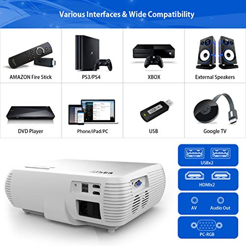 YABER Native 1080P Projector 6500 Lumens Upgrade Full HD Video Projector (1920 x 1080), ±50° 4D Keystone Correction,LCD LED Home & Outdoor Projector Compatible with iPhone,Android,PC,TV Box,PS4