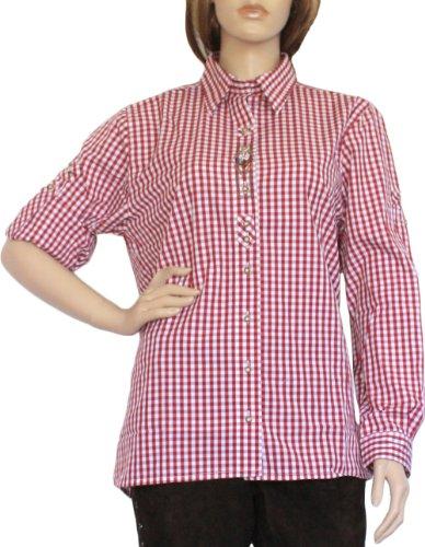 Trachtenbluse Damen Trachten lederhosen-bluse Trachtenmode ROT kariert, Größe:40