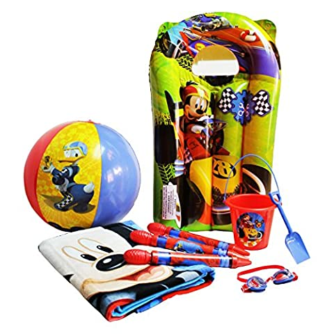 Disney Mickey Mouse Summer Pack - 8 Pieces Play Set (Mickey Mouse Beach Towel, Bucket and Shovel, Googles, Water Blasters, Beach Ball & 1 Inflatable Raft)