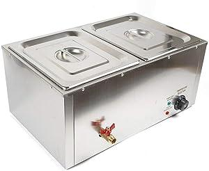 Electric Food Warmer Steamer 2-Pan 850W Stainless Steel Bain-Marie Buffet Countertop Buffet Steamer Steam Table Wet Heat (2-pan)