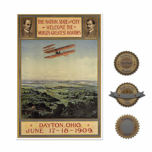 Small 13  19  Decorative Art Poster  Historic Advertisement Reprint   1909 Air Show Featuring The Wright Brothers