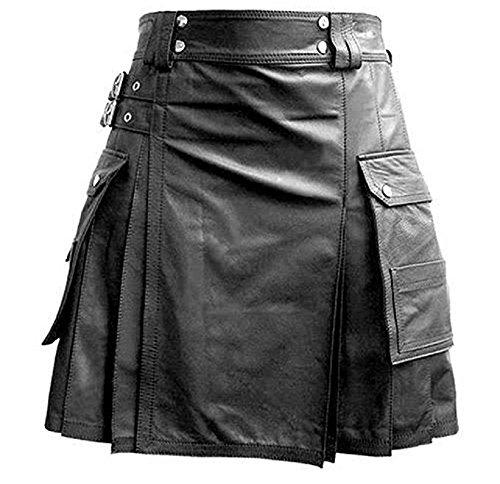 (Mens Black Leather Gladiator Utility Kilt Flat Front Twin Cargo Pockets)