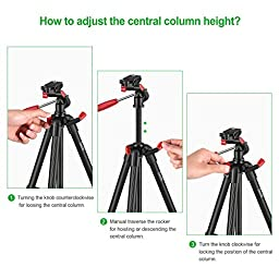 Travel Tripod, Zecti 16 to 47 Inch Lightweight Tripod for ILDC, Smartphone, Telescope Loading 2kg