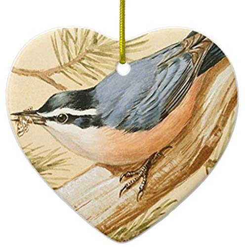 Cheyan Red-Breasted Nuthatch Walter Weber Ceramic Ornament Heart