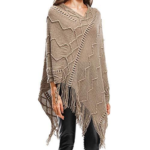Taille L Tops Size Kaki Noir Womens Couleur Solid Plus Glands Fuxitoggo Neck Neck Easy Cape V Blouse Pull BZ7n18a